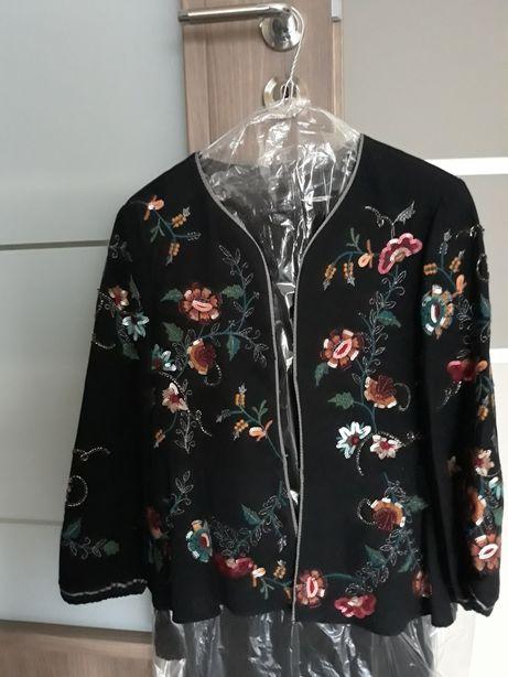 Sacou/geacă/jachetă Zara negru, cu broderie, paiete