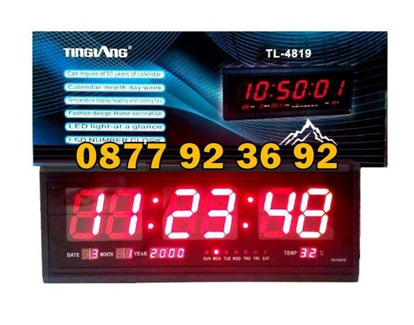ГОЛЯМ LED СВЕТЕЩ електронен дигитален стенен настолен часовник TL-4819