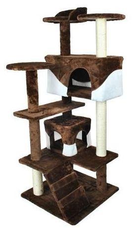 Ansamblu de joaca pentru pisici, cu 2 casute, plus, 127x49cm. Maro-Alb