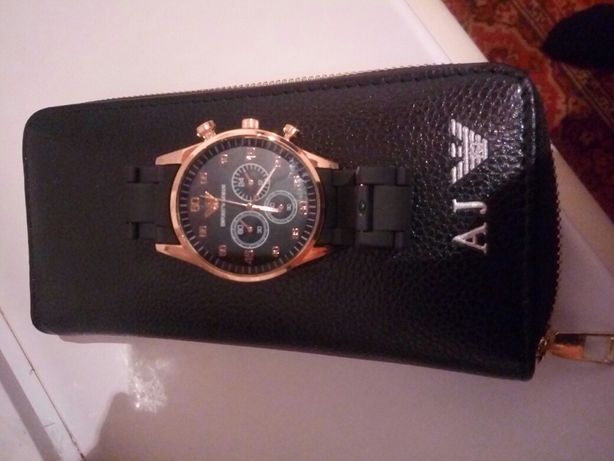 Мужские наручные часы с бумажником