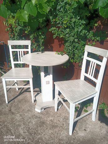 Masa veche ptr terasa/cafea cu scaune lemn reinterpretate shabby chic