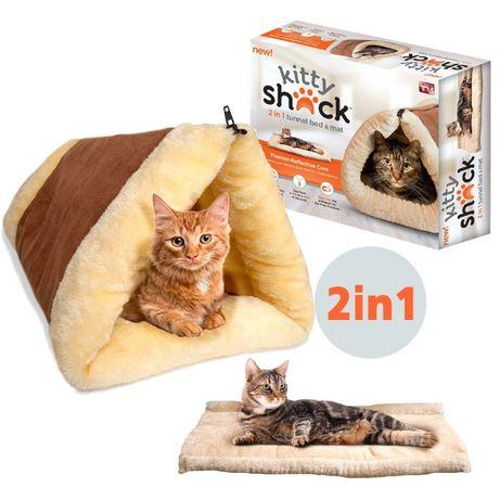 Мека, топла постелка за коте 2в1 самозатоплящо се легло и къща за котк