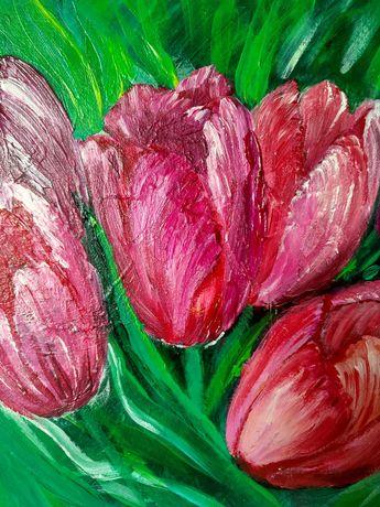 Тюльпаны цветы цветок флористика картина абстрактная