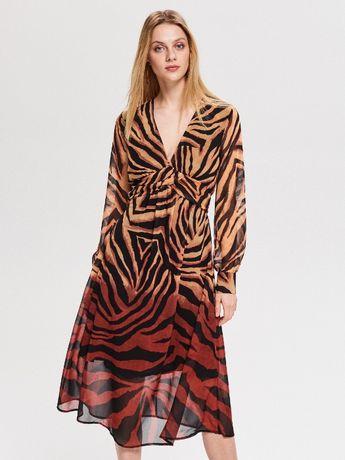 Rochie Animal-print zebra maro-negru ultima moda ombre,stil clasic ret