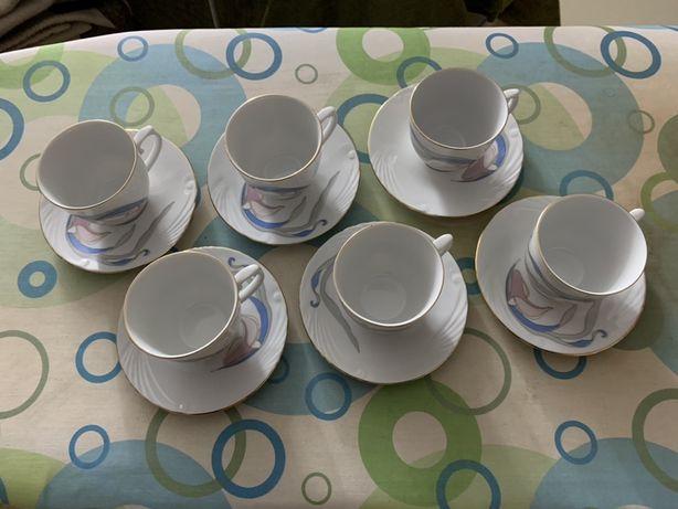 Vând set de 6 cești cafea cu farfurie