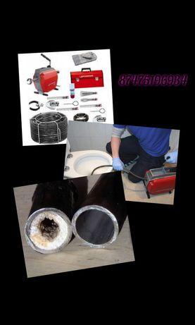 Прочистка канализации под давлением, прочистка труб, промывка труб