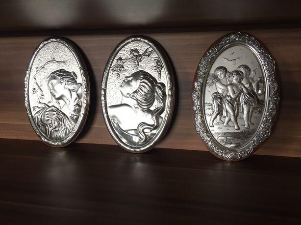 Miniaturi argintate pe lemn