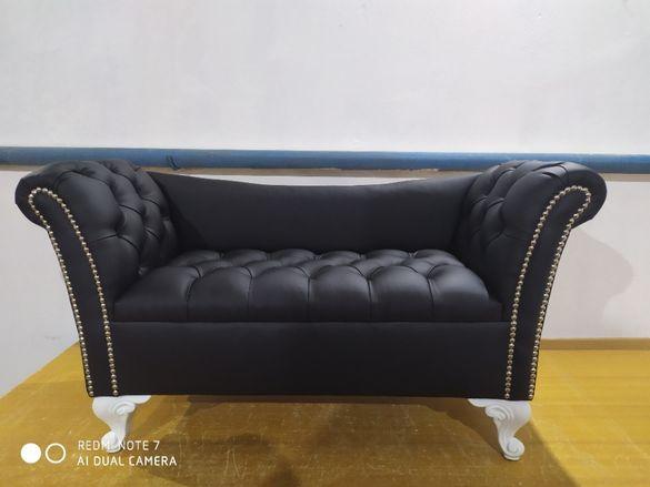 Уникално мини диванче - табуретка, дизайнерска бутикова пейка
