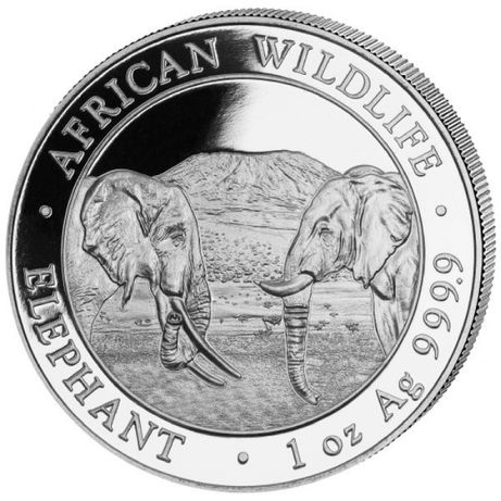 Moneda argint 999 lingou, Elefant Somalia 2020, 1 uncie=31 grame