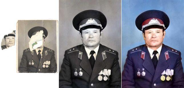 ФОТОШОП!!! Реставрация фото! Из ЧЕРНО-БЕЛОЙ фотографии в ЦВЕТНУЮ!