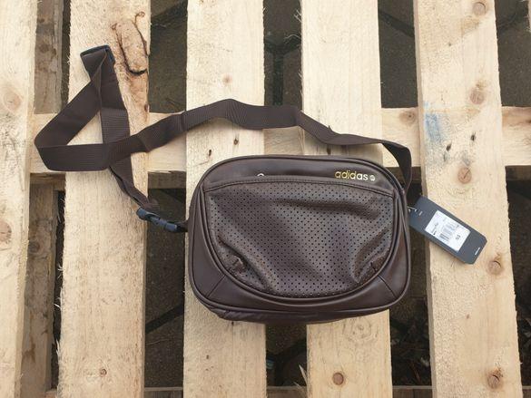 Adidas Brown Leather Skinny Tote дамска / мъжка кожена чанта за рамо