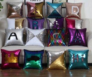 Калъфки за декоративна възглавница с двуцветни пайети