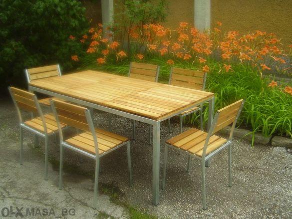 Здрав градински стол метал и дърво, мод. Милано