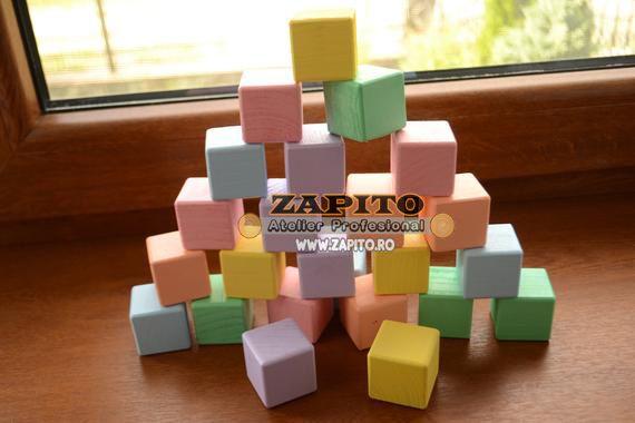 set 26 de cuburi din lemn waldorf montessori culori pastel