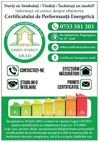 Certificat Energetic Cladiri - jud. Arad