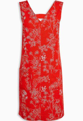 Къса, разкроена рокля с лен NEXT. Червена с флорален десен