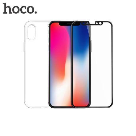 iPHONE X / XS Set husa slim transparenta TPU + folie sticla Hoco