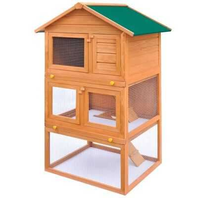 Cusca exterior iepuri adapost animale mici 3 niveluri lemn masiv pin