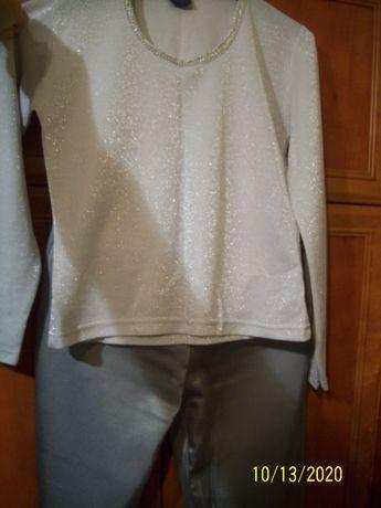 Pantaloni saten elastic cu bluza seara mar M