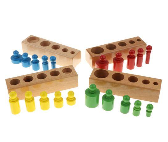 Дървени цветни цилиндри - теглилки с дръжки Монтесори Играчки