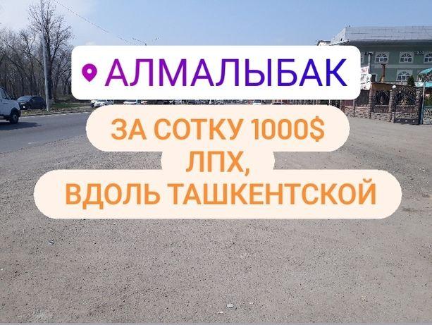 Продам участки в пос. Алмалыбак(КИЗ), ЛПХ, вдоль Ташкентской!