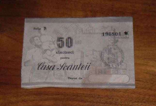 """Vând bon 50 lei """"Casa Scânteii"""""""