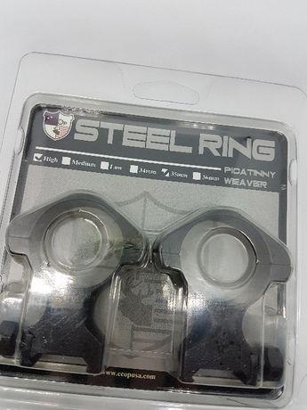 prindere Inele otel extra inalte 35mm luneta arma vanatoare sina 21mm
