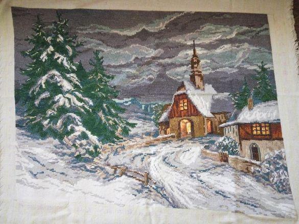 """Вилеров гоблен """"Зимен параклис в снега"""", оригинални вилерови конци"""