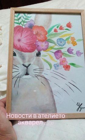 Картина акварел върху картон