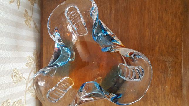 Пепельница чешское цветное стекло