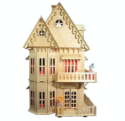 Игрушечный кукольный деревянный домик для детей