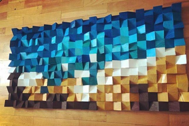 Tablou handmade 3D din cuburi lemn de brad