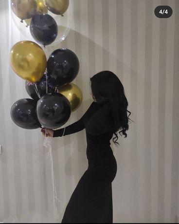 Черное платье с разрезом (4000)