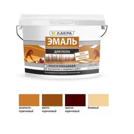 Эмаль акриловая Лакра краска для пола (золотисто/желто)-коричн. 0,9кг