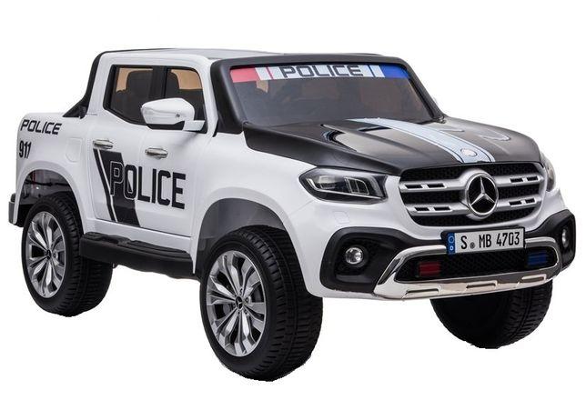 Masinuta electrica Mercedes POLICE X-Class 4x4 STANDARD #Alb