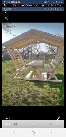 masa cu acoperis de grădină