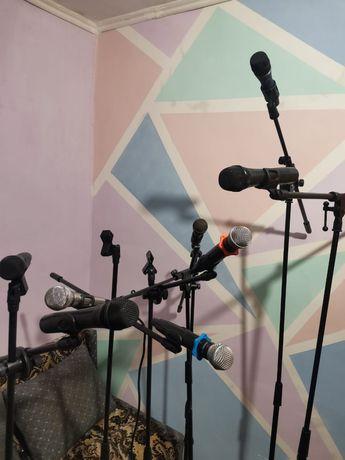 Микрофон,стойки,радио микрофоны