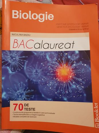 BACalaureat - carte de teste pentru BIOLOGIE culegere,manual, pregatir