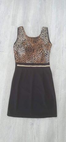 Rochie neagră animal print