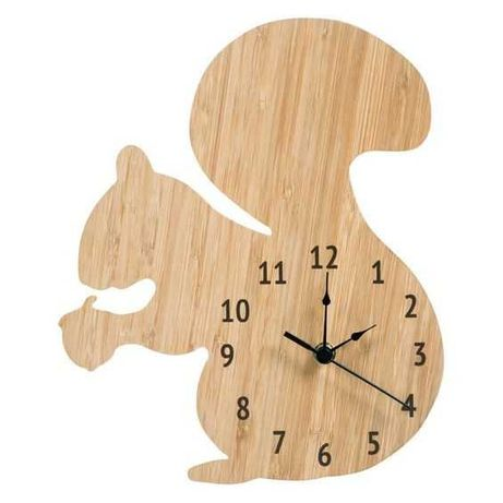 Ceas de perete Lumea Animalelor, Veverita, personalizabil, lemn, 30 cm