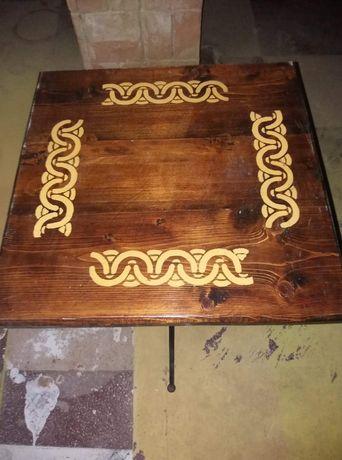 Masa lemn si fier forjat