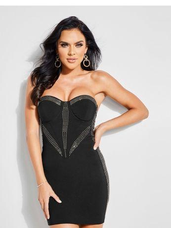 GUESS- S/M/L -Оригинална дамска черна рокля с камъни и подплънки