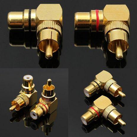Adaptor mufa RCA 90* aurit, pereche