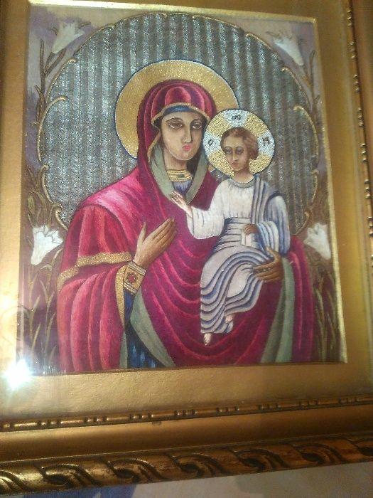 icoana catifea broderie-lucrata manual-Maica Domnului cu Iisus Hristos