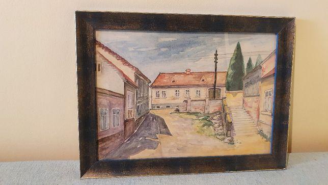 Veche acuarela reprezentand drumul catre dealul Ciuperca - Oradea