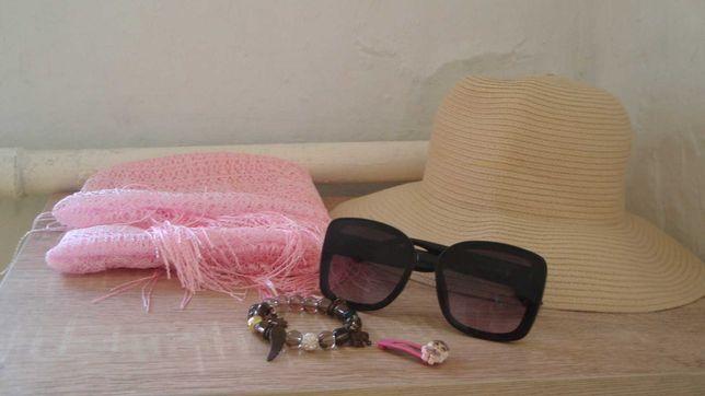 Шляпа, очки солнцезащитные, платок, браслет и др.