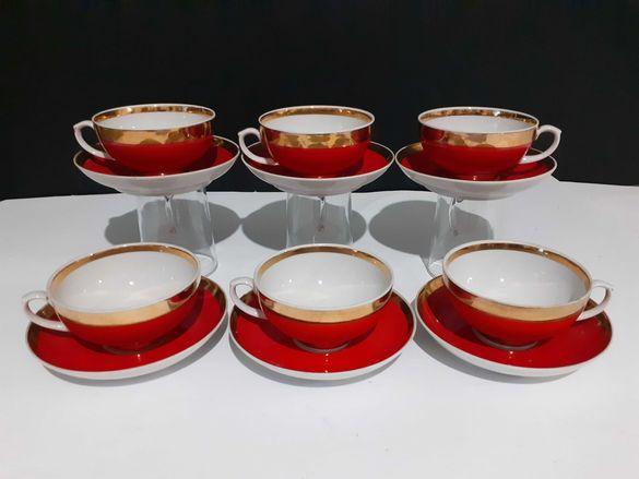 Руски порцеланов сервиз за чай от 12 части,Дулево,,Изящен и рядък.