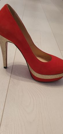 Pantofi eleganți roșu cu auriu