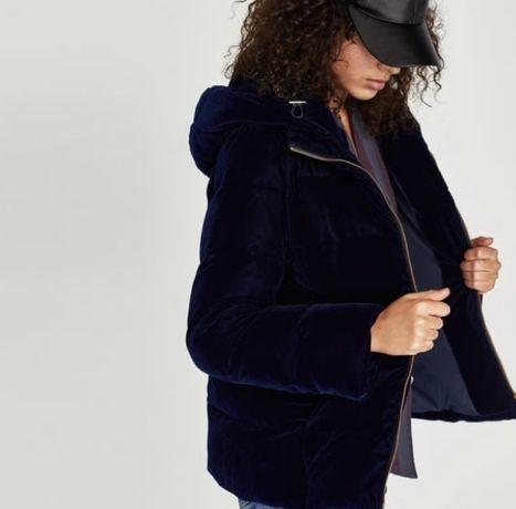Geaca Zara Puffer Bomber Velvet Navy Blue