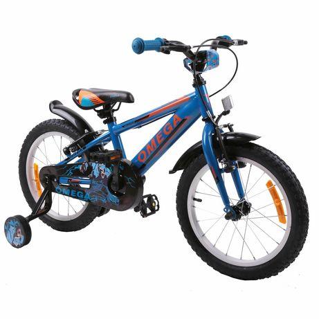 Bicicleta Omega Master 16″ BLUE, pentru Copii, Cadru Otel, Roti ajutat